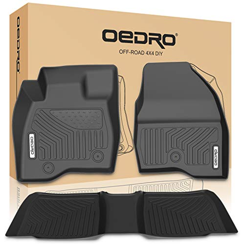 oEdRo Floor Mats Compatible for 2017-2019 Ford Explorer, Unique Black TPE All-Weather Guard Includes 1st and 2nd Rows: Front, Rear, Full Set Liners ()