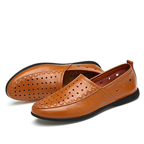 Breathable Mocasines para Hombres 2018 40 los Genuino Slip on Cuero Gamuza shoes Mocasines EU Plantilla mocasín de Hombre Light tamaño Brown Color de Hongjun Style 4qfRx