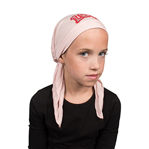 Sequin Love Applique on Child's Pretied Head Scarf Cancer Cap Light Pink by Landana Headscarves (Image #1)