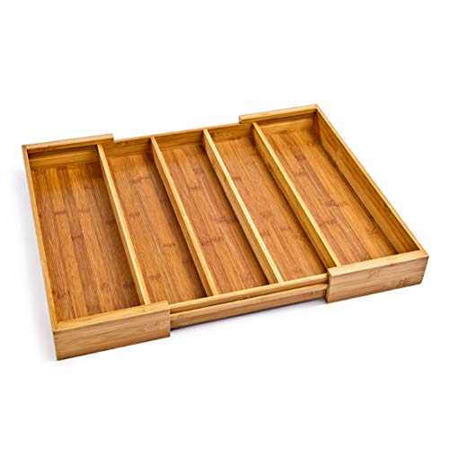 Seville Classics Bamboo Expandable 5 Large Compartment Adjustable Cutlery Drawer Tray Organizer (Best Kitchen Drawer Organizer)