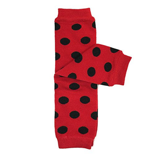 (Bowbear Baby Polka Dot and Solid Color Leg Warmers, Red and Black Dots)