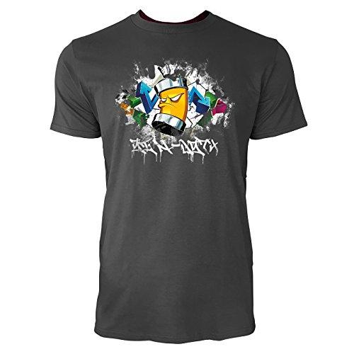 SINUS ART ® Cooles Graffiti mit Sprühdose Herren T-Shirts in Smoke Fun Shirt mit tollen Aufdruck