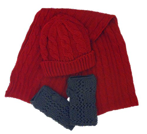 3 Piece Best Red Burgundy Thick Winter Cable Knit Hat & Scarf Set Gray Open Fleece Lined Half Finger Gloves Unique Cute Stocking Stuffer Christmas Gift Ideas Women Teen Girls Young Ladies (Red Gray)