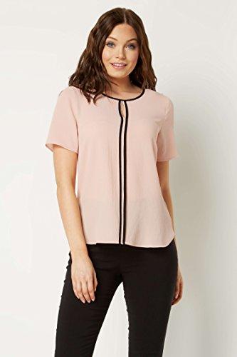 Casual Uni Simple Rond Originals Roman Courtes Confortable Soire T Light Femme Contraste Decontract Shirt Pink Manches Col SvUU4Y6qw
