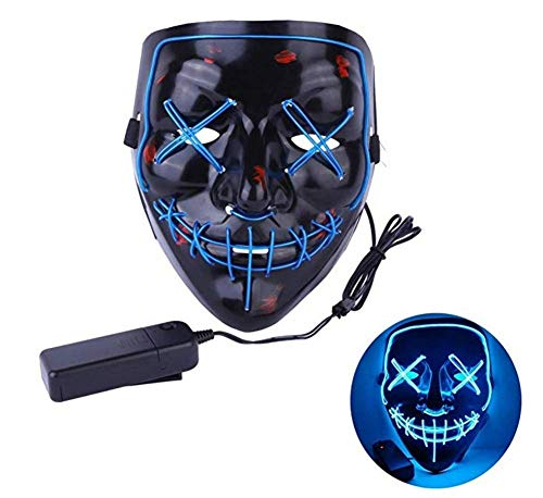 (benefit-X LED Light Mask Devil Mask Frightening Mask Creepy Masks for Party Carnival Halloween Cold Light Ghost Walk Holiday Party)