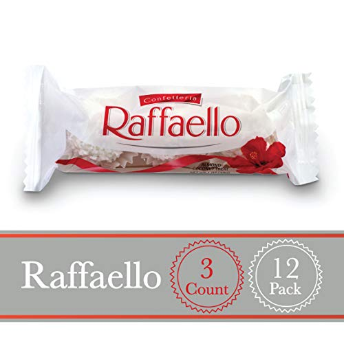 Ferrero Raffaello Almond Coconut Candy, 3 Count, Pack of 12 Individually Wrapped Coconut Candy Gifts, Mother's Day Gifts, 1 -
