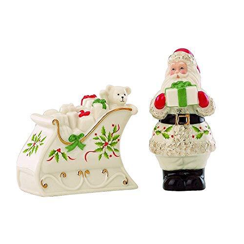 (OKSLO Holiday santa & sleigh salt & pepper set Model d3053)
