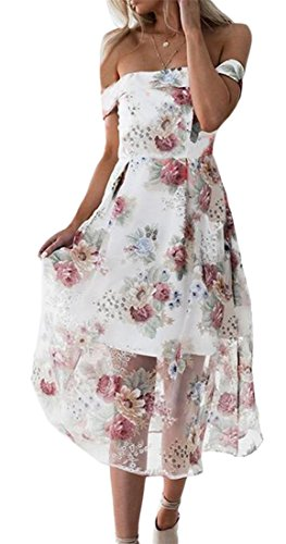 Shoulder 3 Women's Off Jaycargogo Mesh Dress Floral Backless Fashion vtx4n8