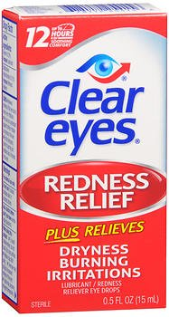 Clear Eyes Redness Relief Lubricant Eye Drops - 0.5 fl oz, Pack of 5