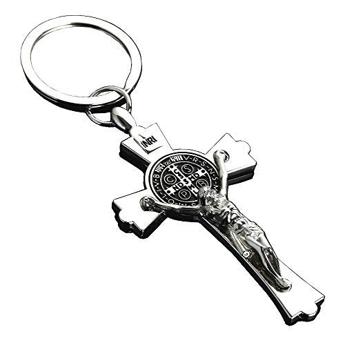 Silver Jesus Cross Crucifix Charm Metal Keychain Car Key Ring Key Holder Religious Gift Jewelry Holy Article ()