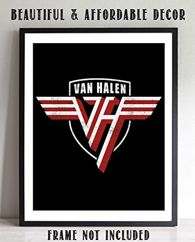 """Van Halen Band-Logo Poster Print- 8 x 10"""" Wall Print-Ready To Frame. Iconic Rock Band Distressed Logo Print. Home-Office-Studio-Bar-Dorm-Man Cave Decor. Great Gift For All Rock Music & Van Halen Fans."""