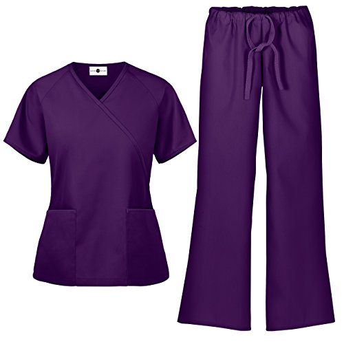 Women's Scrub Set/Medical Mock Wrap Top & Drawstring Scrub Pant (XS-3X, 7 Colors) (XX-Large, Eggplant)