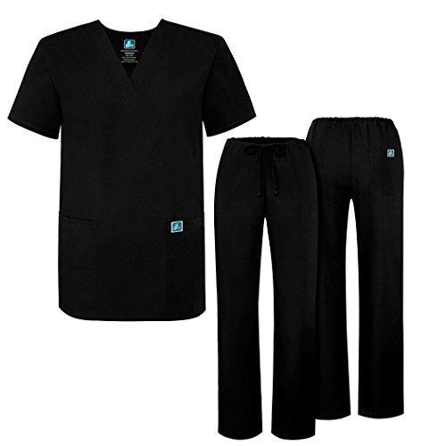 Adar Mens Medical Scrubs Set Medical Uniforms - Roomy Fit - 701 - Blk -S