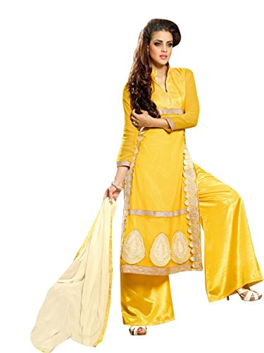 Vibes Women's Fashionable Pure Georgette Un-Stitched Dress Materials – Free Size, Yellow