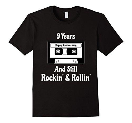Mens 9th Wedding Anniversary Gift 9 Years T-shirt Cassette Tape 3XL Black