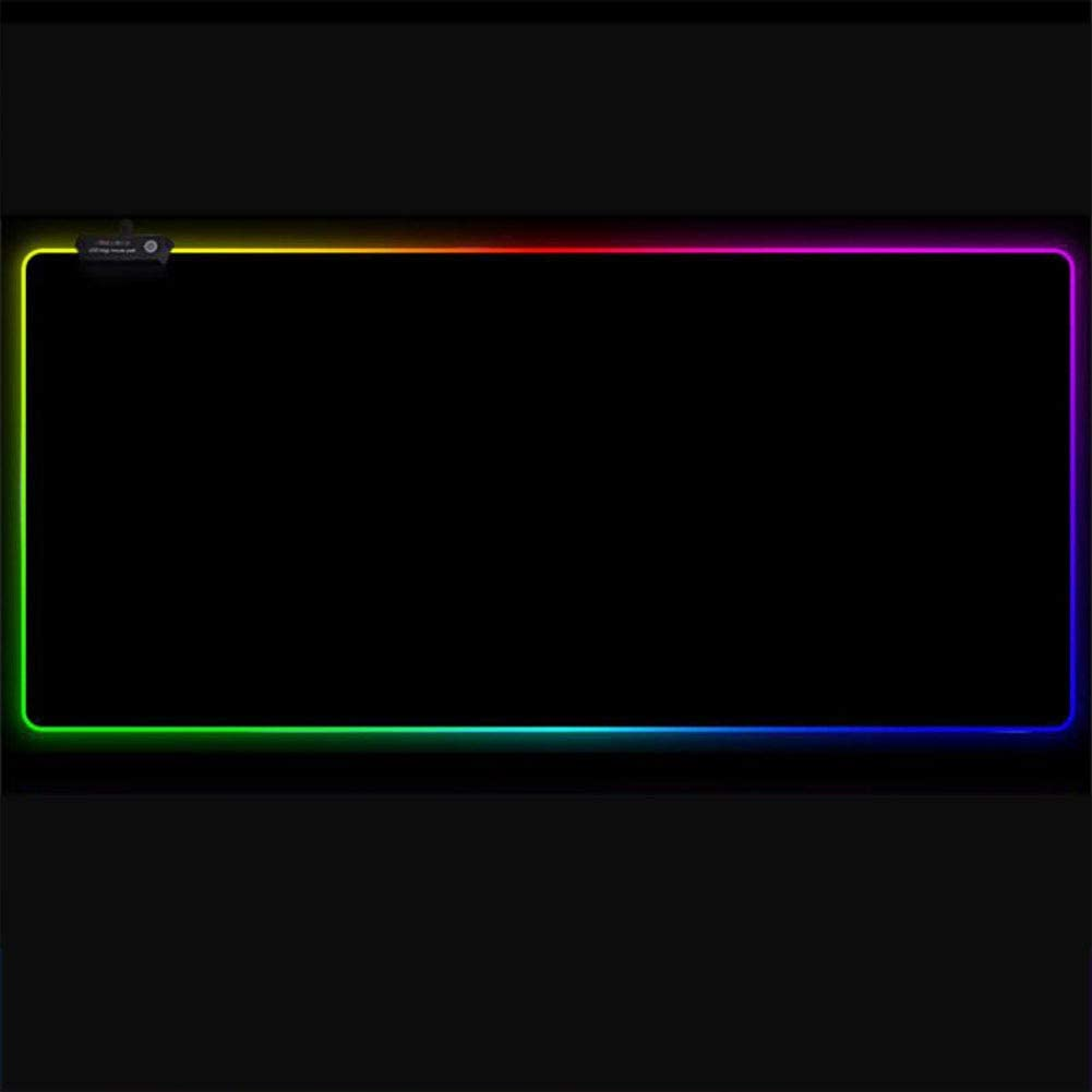 FF/&XX Glowing Led Extended Mousepad,Stitched Edge Not-Slip Mouse Mat Gaming Mouse Pad Lycra Cloth Waterproof Keyboard Pad Oversized Desk Mat-e 78x30cm