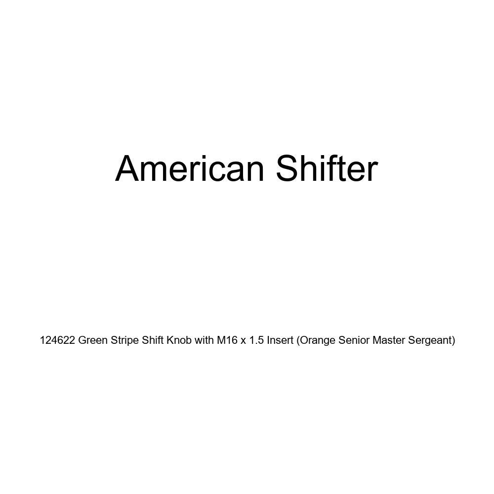American Shifter 124622 Green Stripe Shift Knob with M16 x 1.5 Insert Orange Senior Master Sergeant