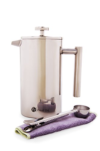 French Press Coffee Maker Cleaning : Best French Press Coffee Maker. 34oz Coffee Pot With Bonus Scoop. Insulated Double Wall ...