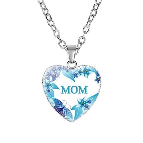 CHASIROMA MOM Heart Pendant Necklace Mama Pendant Necklace or Bracelet for Mum
