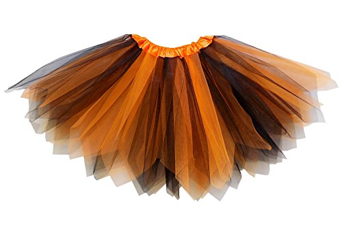 So Sydney Adult Plus Kids Size Pixie Fairy Tutu Skirt Halloween Costume Dress Up (XL (Plus Size), Orange & Black)]()