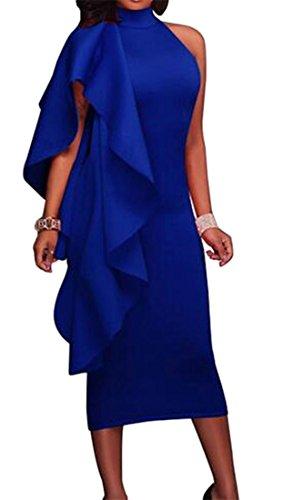Cromoncent Pour Femmes Volants Slim Fit Clubs Moulantes Bleu Solide Robe De Soirée Sans Manches