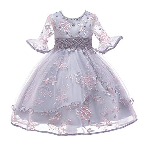 JIANLANPTT Little Girls Neckline Beaded Party Dress Floral Fairy Flower Embroidered Gauze Princess Dresses Grey 3-4 Years