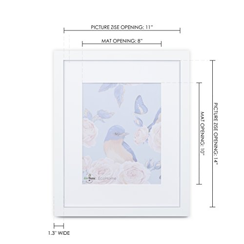 11x14 White Picture Frame - Matted for 8x10, Frames by EcoHome by Eco-home (Image #3)