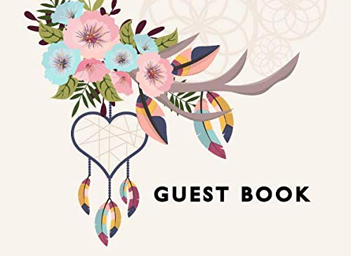 Guest Book: Boho Floral Heart Dream Catcher Bridal Shower Wedding Baby Shower or Anniversary Single Sided Sign In Guestbook