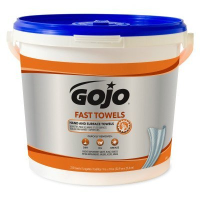 Gojo Fast Wipes Hand Cleaning Towels 9'' X 10'' Bottle 225 Pre-Moistened Towels