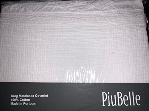 Lowest Prices! Piu Belle PiuBelle King White Matelasse Coverlet Shabby Chic