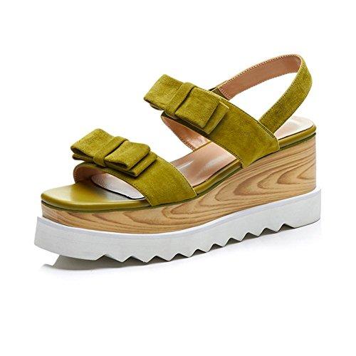 WSXY Zapatos Zapatilla Chanclas Moda Zapatos Creativos L0405 con Mujeres Green Caminar de Accesorios Toe Peep Mujer Bowknot Confort Para Sandalias Tacón Plataforma del KJJDE IwdIF