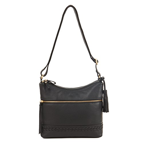 GAL Genuine Leather Triple Compartment Brand and Tassel Handbag - Black by Buneo Calif