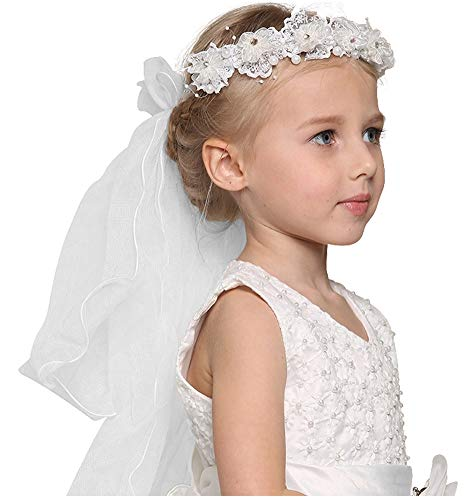 Bienvenu First Communion Flower Girl Bow Embroidered Wedding Veil Two Layers,White_3 ()
