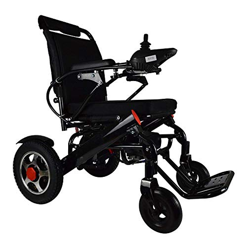 (Electric Wheelchair Deluxe Foldable Power Compact Mobility Aid Wheel Chair, Lightweight Folding Carry Electric Wheelchair, Motor Remote Control only 50 lbs Supports up to 260 lbs, FDA Approved)