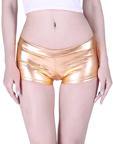 HDE Women's Shiny Metallic Booty Shorts Liquid Wet