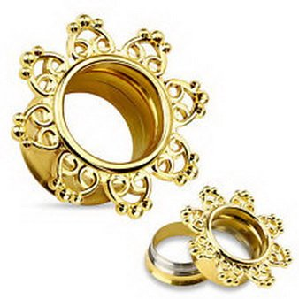 14k Gold Plated Filigree (Pixxie Jewelry - Pair 14Kt Gold Plated Tribal Hearts Filigree Double Flared Tunnels Ear)