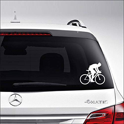 Aampco Decals Cyclist Cycling Bicycling Car Truck Motorcycle Windows Bumper Wall Decor Vinyl Decal Sticker Size- [6 inch/15 cm] Wide/Color- Matte White
