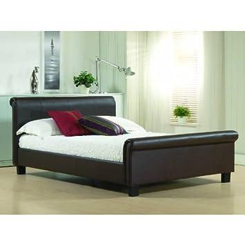 Temps Living Lit Double Lit Simili Cuir Marron Cadre De Lit Aurora - Cadre de lit simili cuir