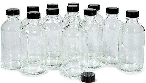 Vivaplex, 12, Clear, 4 oz Glass Bottles, with Lids (Small Glass Bottle)