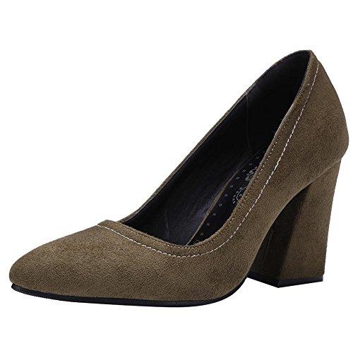 Mee Shoes Damen chunky heels Nubukleder runde Pumps Dunkelgrün