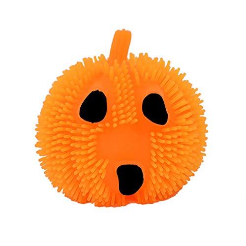 MOKO-PP Light Up Halloween Pumpkin Stress Puffer Ball Release Squeeze Toy(B) -