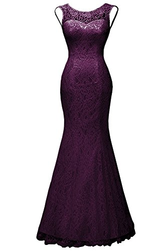 DYS Women's Lace Mermaid Wedding Dress with Detachable Train Evening Formal Gown Plum US 24Plus