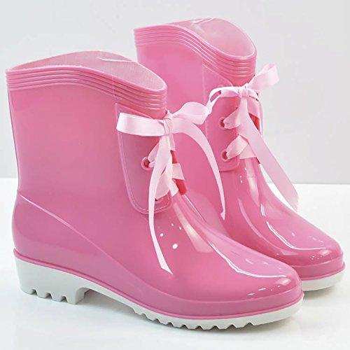 Jelly Lace slip Women's Anti Ankle Green High Rain up Rain Waterproof Boots Shoes qwqgR6