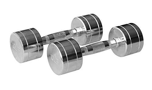 Gymenist Set of 2 Round Chrome Dumbbells with Chromed Metal Handles, Pair of 2 Heavy Dumbbells Choose Your Weight Size – DiZiSports Store
