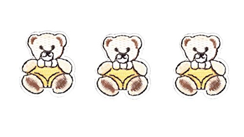 3 small pieces Yellow TEDDY BEAR Iron On Patch Fabric Applique Motif Children Scrapbooking Decal 1.3 x 1.1 inches (3.3 x 2.8 cm)