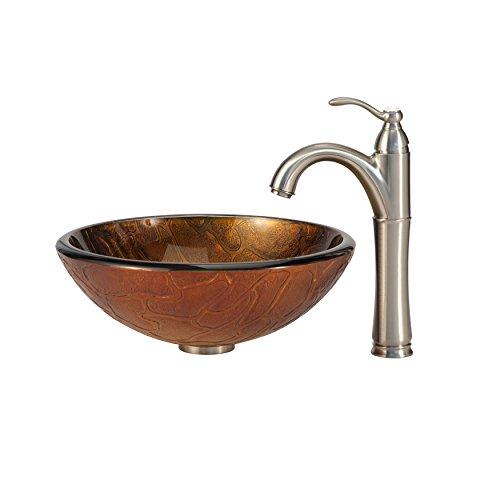 Kraus C-GV-690-19mm-1005SN Triton Glass Vessel Sink and Riviera Faucet Satin Nickel