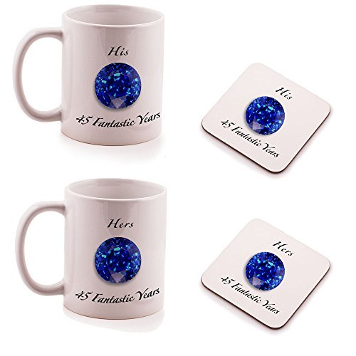 Sapphire 45th Wedding Anniversary His and Hers Mug and Coasters gift set - by Ukgiftbox