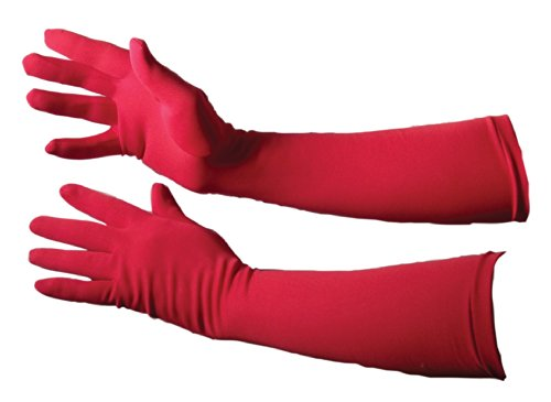 Jacobson Hat Company Women's Adult Stretch 18 Inch Long Gloves, Red,Adult One Size -