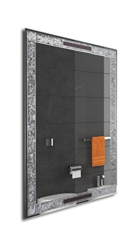 MirrorsHome | Handmade Wall Mounted Rectangle Framed Bathroom Modern Frost Fused Glass Mirror 31.inch X 22.inch