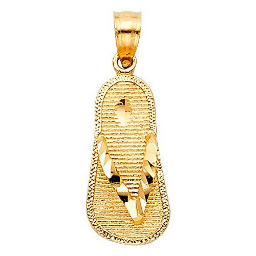 Wellingsale 14K Yellow Gold Polished Diamond Cut Sandal Pendant